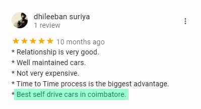 Onroadz Car Rental Coimbatore Review