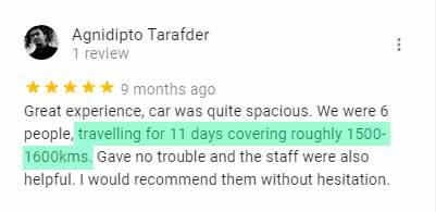Customers Car Rental Review